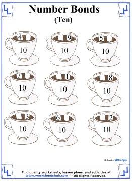 Number Bonds To 10 - Addition Worksheets