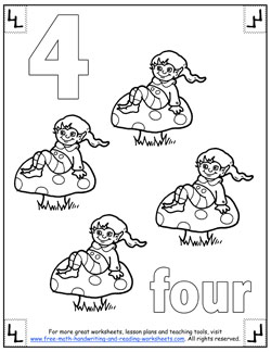number coloring pages 4 - Number Coloring Pages
