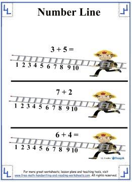 number line worksheets x3