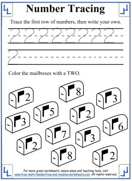 Number Tracing Worksheets - 0-5