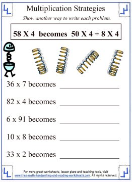 Printables Partial Product Multiplication Worksheets partial products multiplication strategies worksheet 1