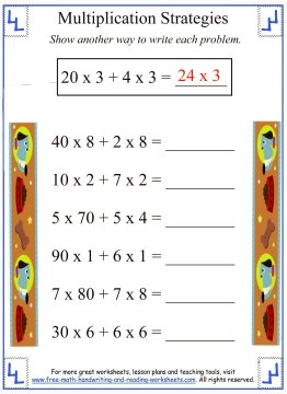 math worksheet : partial products  multiplication strategies : Partial Products Multiplication Worksheets
