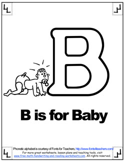 b is for baby phonetic alphabet coloring page