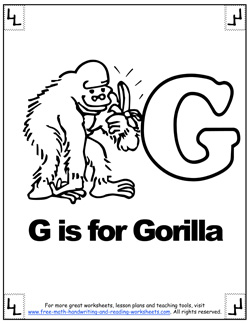 phonetic alphabet g coloring page