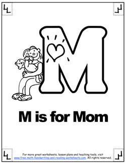 m is mom phonetic alphabet coloring sheet