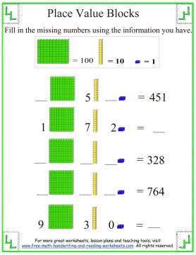 Number Names Worksheets place value and value worksheets : Place Value Blocks - Base Ten Worksheets