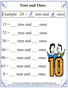 Place Value Worksheets place value worksheets for 1st graders Place Values:Tens & Ones Worksheets