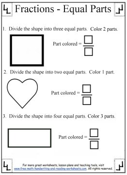 Printable Fraction Worksheets:Equal Parts