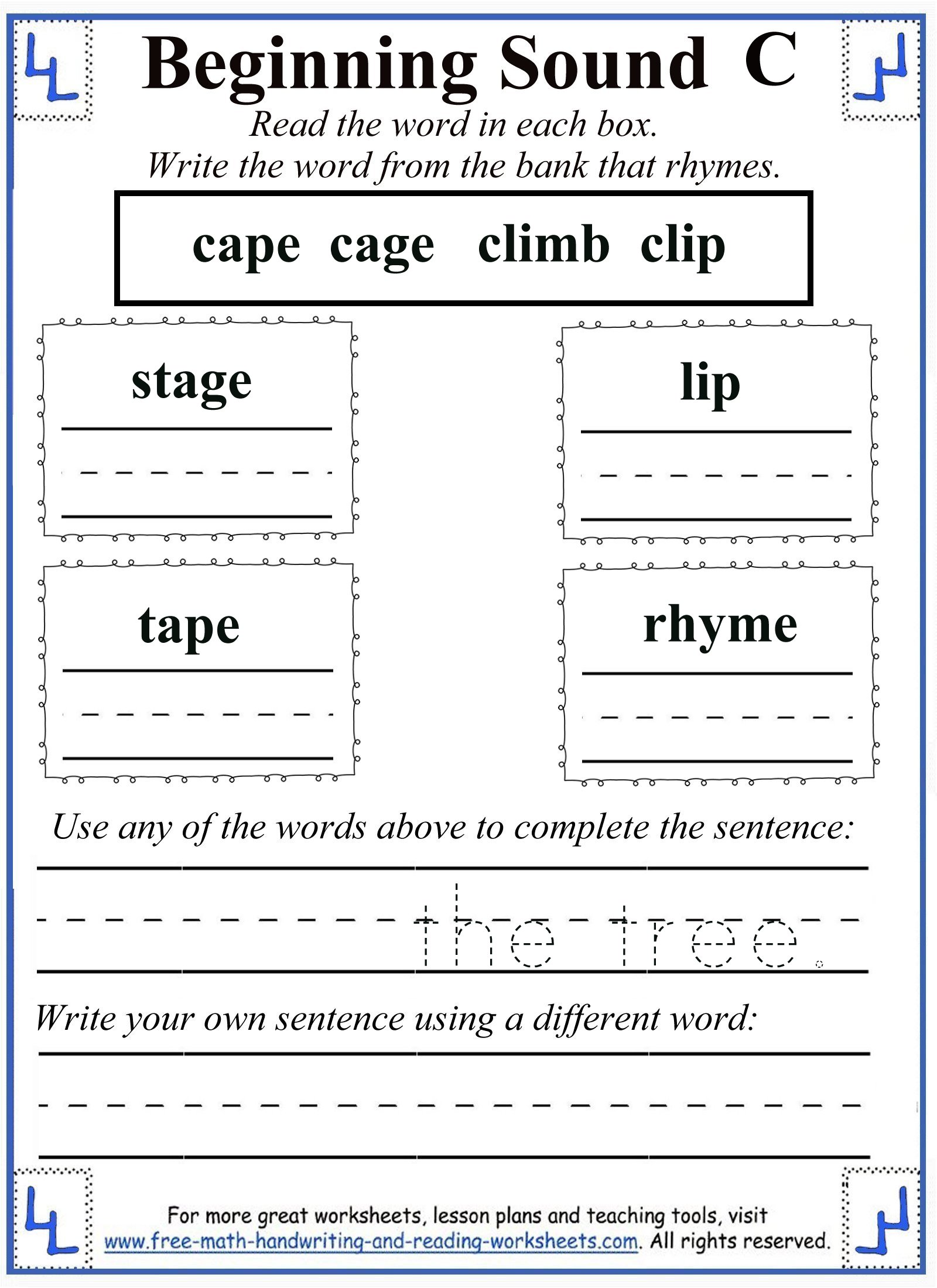 worksheet Beginning Sounds Worksheets Cut And Paste printable letter c worksheets activities 2