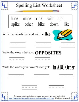 printable spelling lists 4