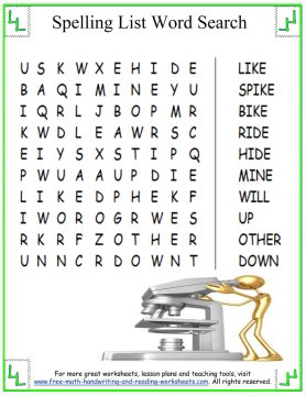 Printables Printable Reading Worksheets For 1st Grade printable spelling lists long i words 5