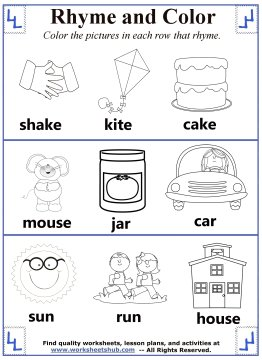 Rhyming Word Coloring - rhyming words coloring pages