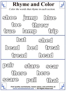 Rhyming Word Coloring - rhyming words coloring pages
