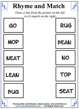 rhyming words worksheets 4