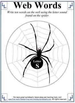 spider web s letter sheet