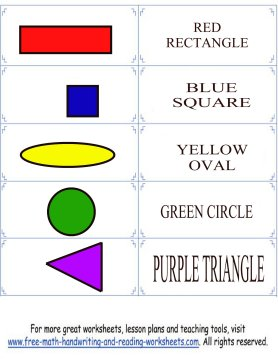 colors and shapes flashcard set 1