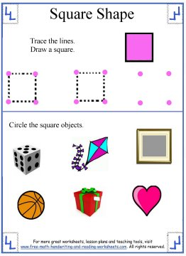 Shapes For Kids on Kindergarten Math Worksheets