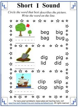 Number Names Worksheets short i sound worksheets : Short I Sound Worksheets