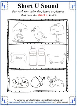 Number Names Worksheets short vowel sound worksheets for first grade : Short U Sound Worksheets