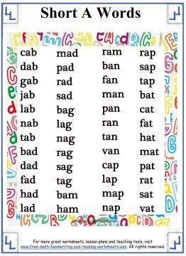 short vowel sound 1