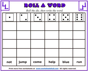 graphic relating to Printable Sight Word Worksheets called Sight Term Worksheets - Roll A Phrase