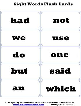 sight words flash cards 1