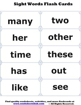 sight words flash cards 5