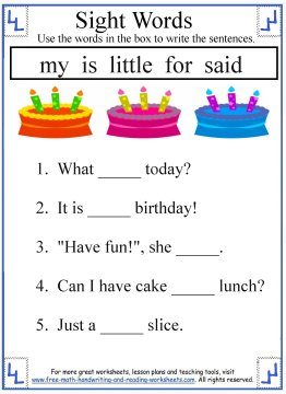 Kindergarten Reading Sight Words Worksheets