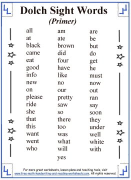 sight words list 2