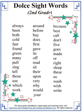 sight words list 4