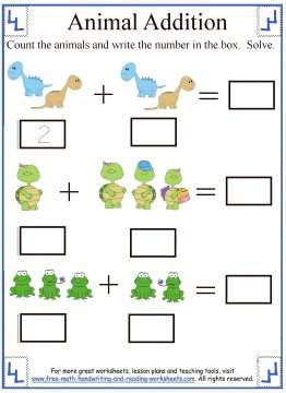For the second worksheet, students should count the animals and solve ...