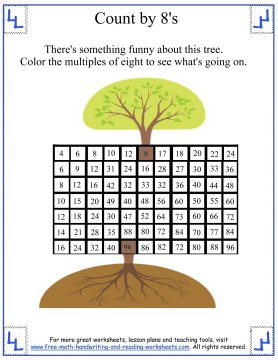 Number Names Worksheets skip counting by 3 worksheets : Skip Counting 8s