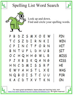 Worksheets 1st Grade Spelling Words Worksheets spelling first grade words short i 5