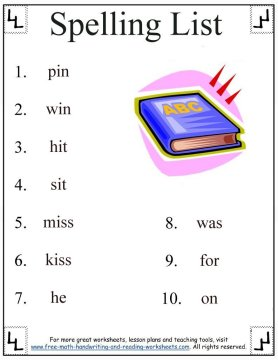 Spelling First Grade Words Short I