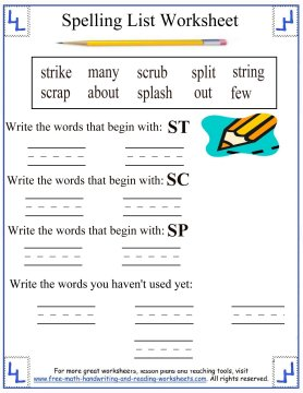 Spelling Words First Grade Blends Str Scr Sp