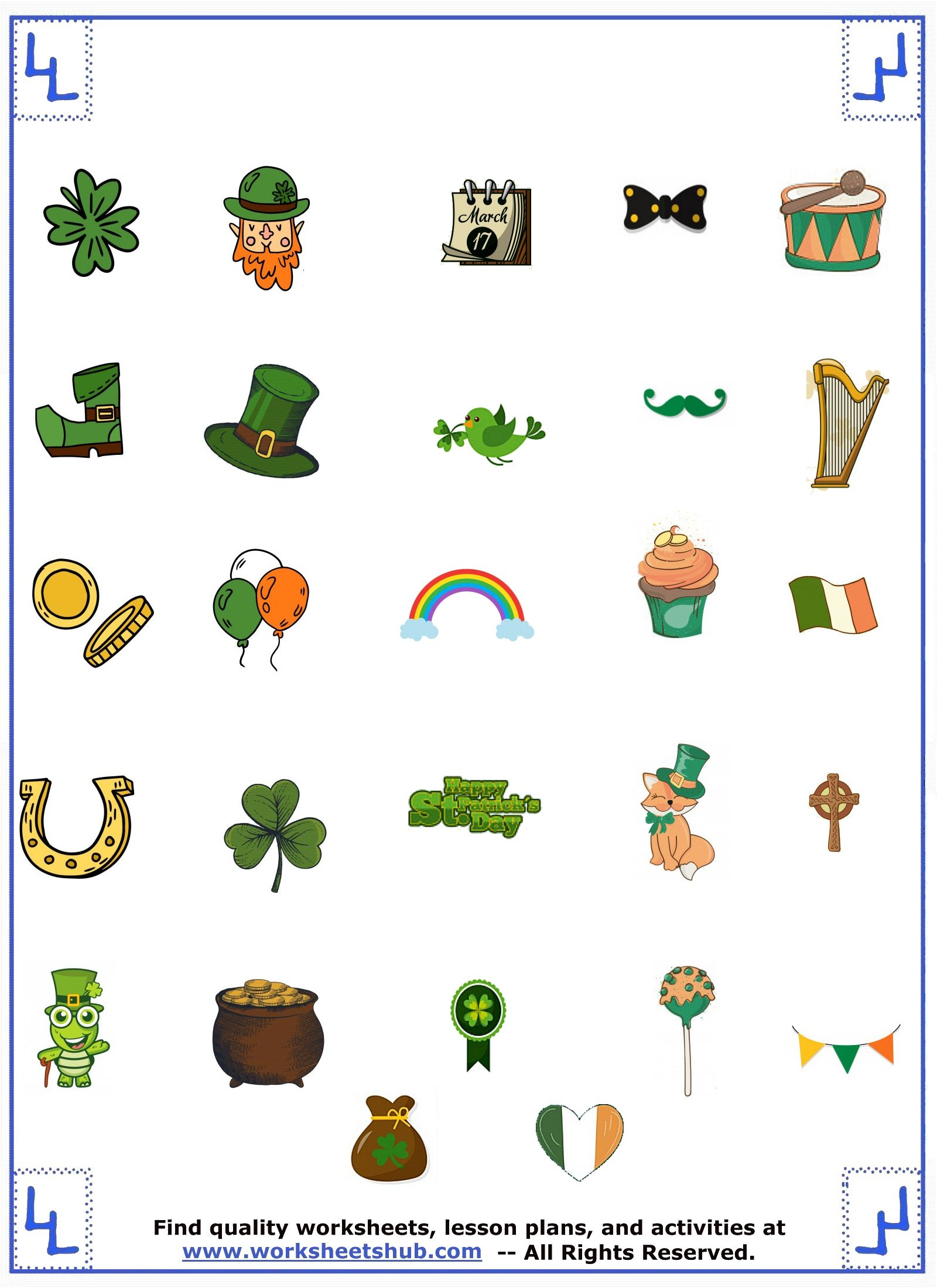 st patricks day game objects