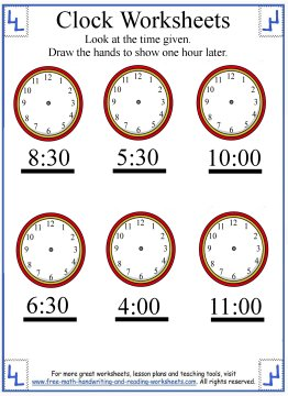 telling time worksheet 5