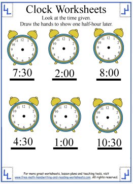 telling time worksheet 7