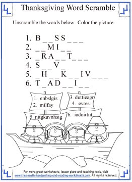 Thanksgiving Activities For Kids Word Scrambles