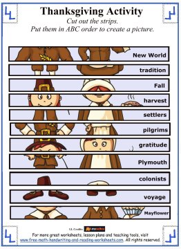 Thanksgiving Printable Worksheets Picture Scrambles
