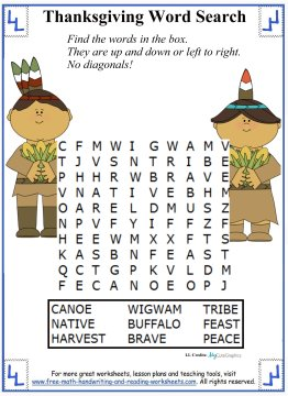 thanksgiving word search 3