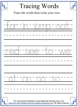 tracing words 10