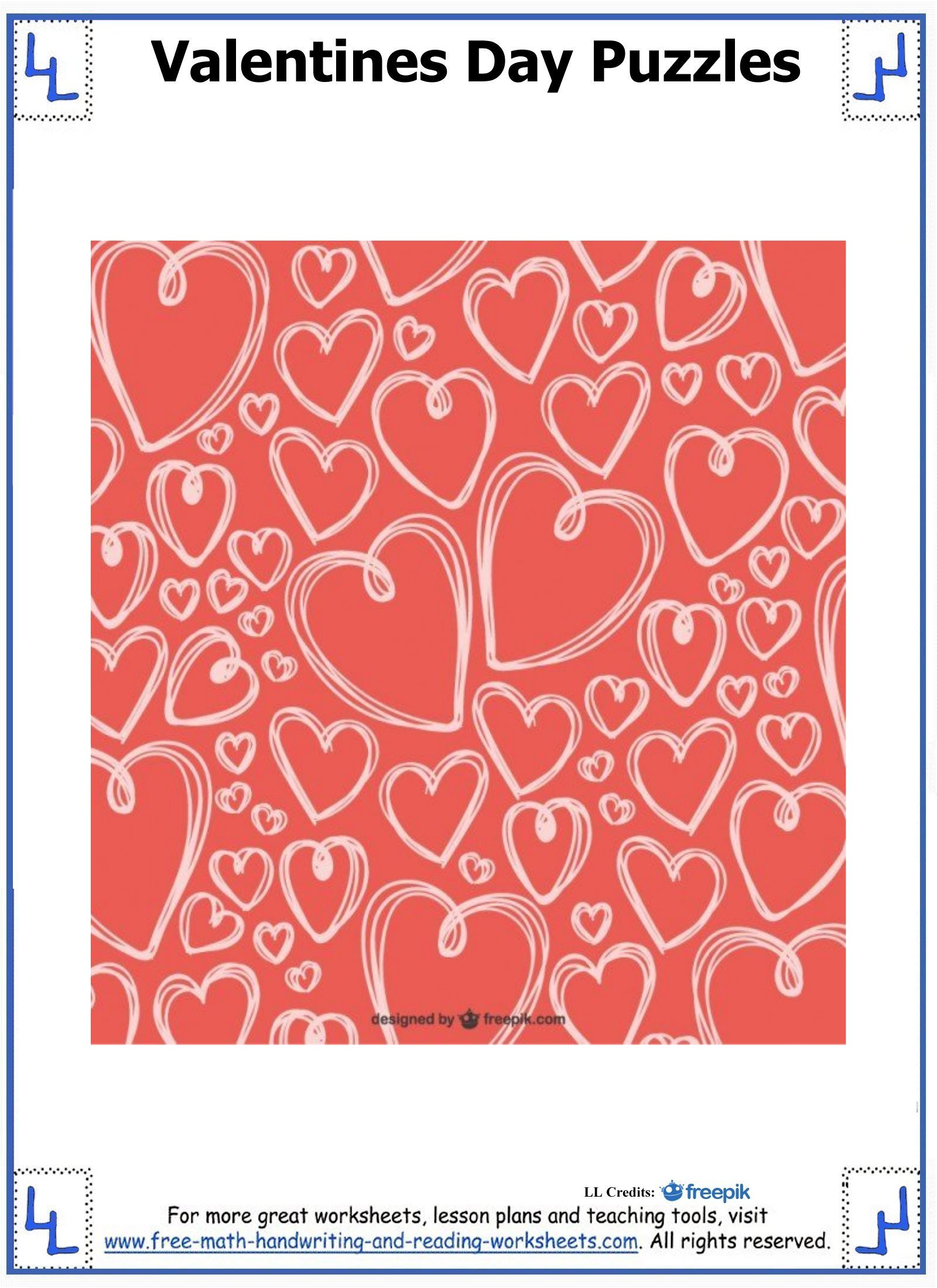 Valentine Day Puzzles Printable Cut Amp Paste Puzzles