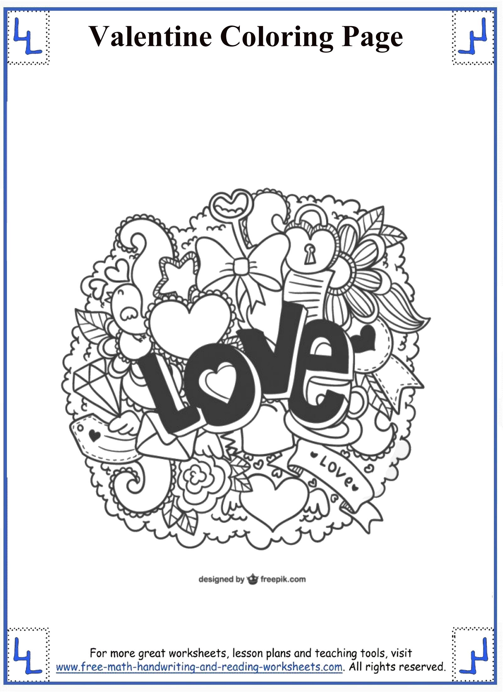Valentine S Day Coloring Worksheets 4th Grade Math