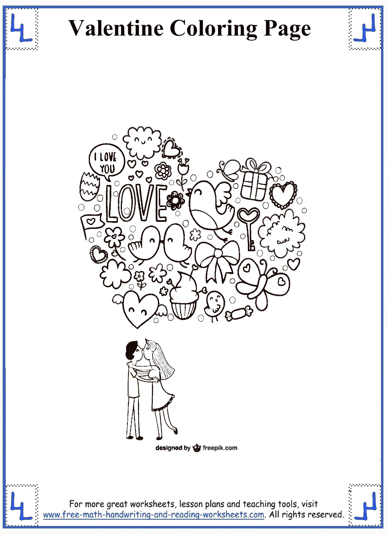 Valentines Day Coloring Pages on rhyming worksheets