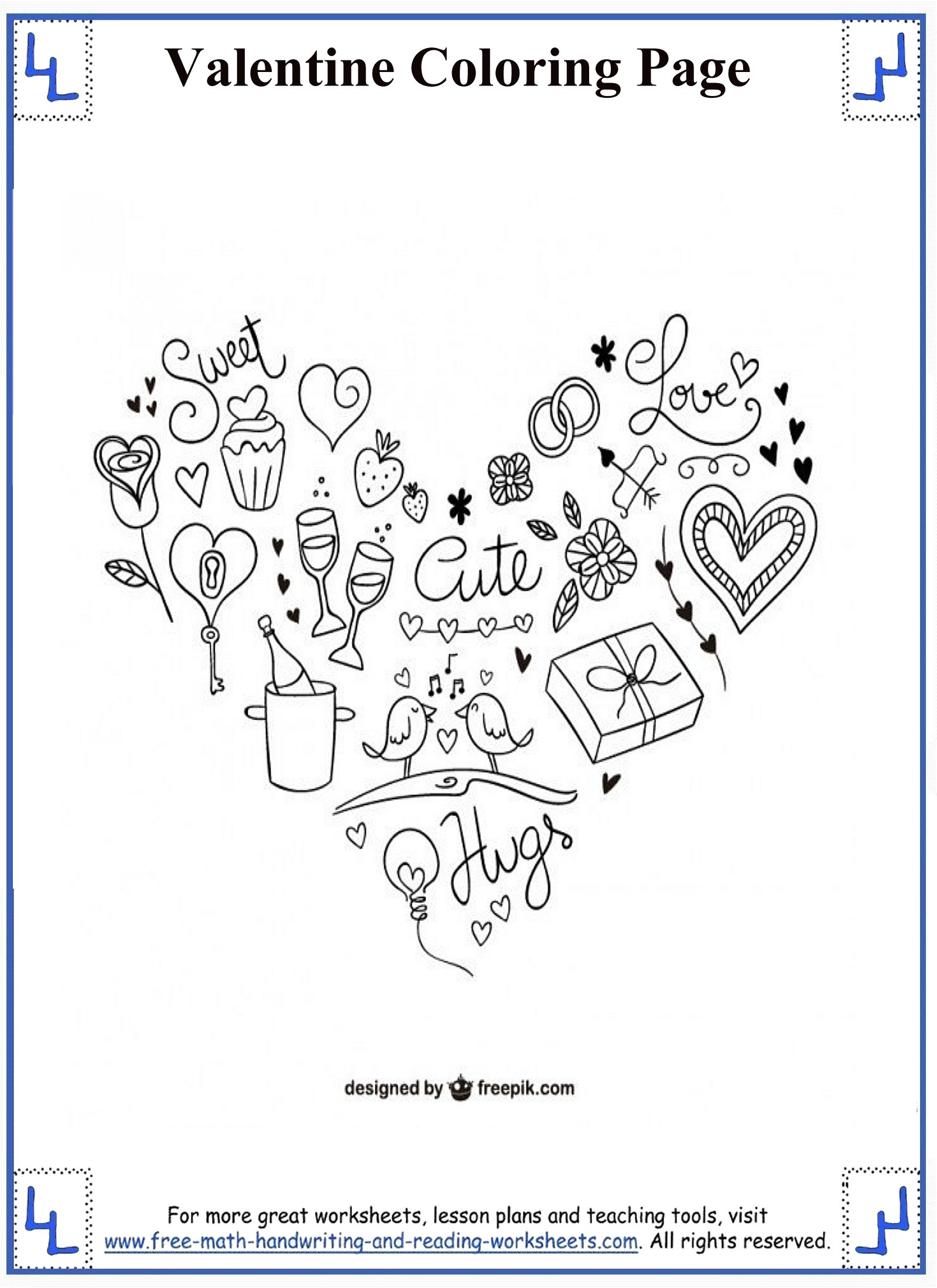 This is a photo of Inventive Valentine Printable Worksheets
