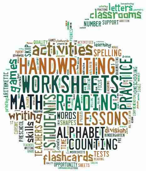 worksheets site word cloud
