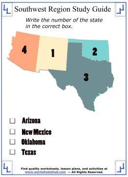 worksheets on the southwest states 3