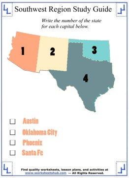 worksheets on the southwest states 7