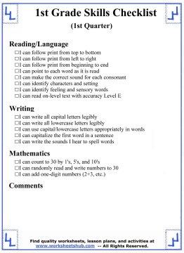 1st grade skills 1